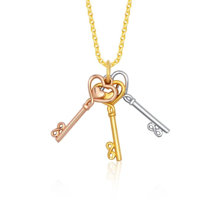 SK 916 Trio Keys Gold Pendant