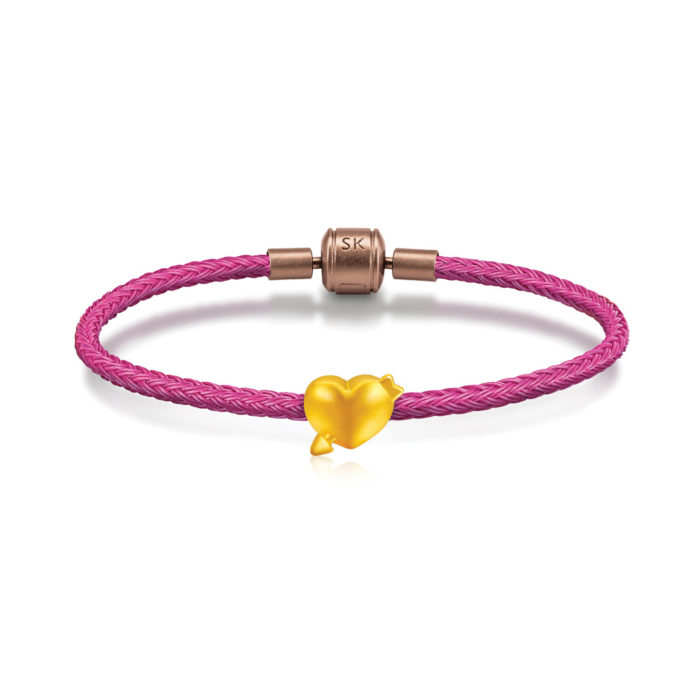 SK Jewellery 999 Pure Gold Cupid Heart Charms Bracelet