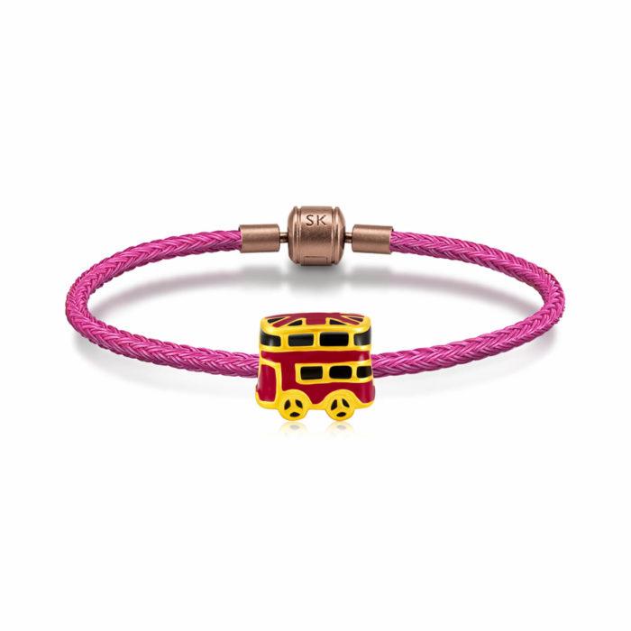 SK Jewellery 999 Pure Gold London Bus Charms Bracelet