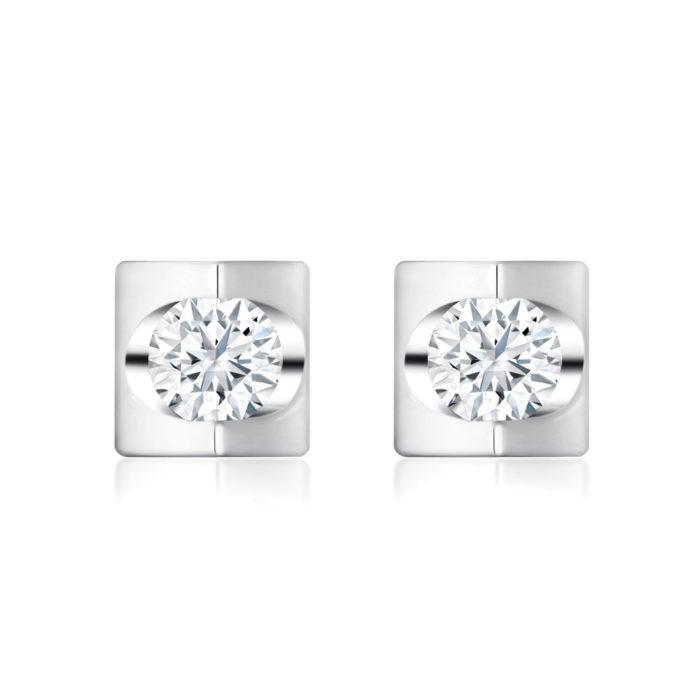 Prismatic Square Diamond Earrings