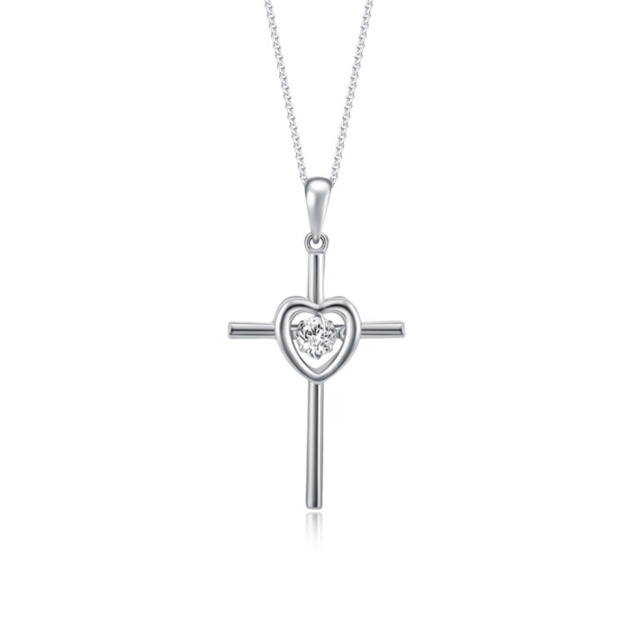 Love Cross Dancing Star Diamond Pendant