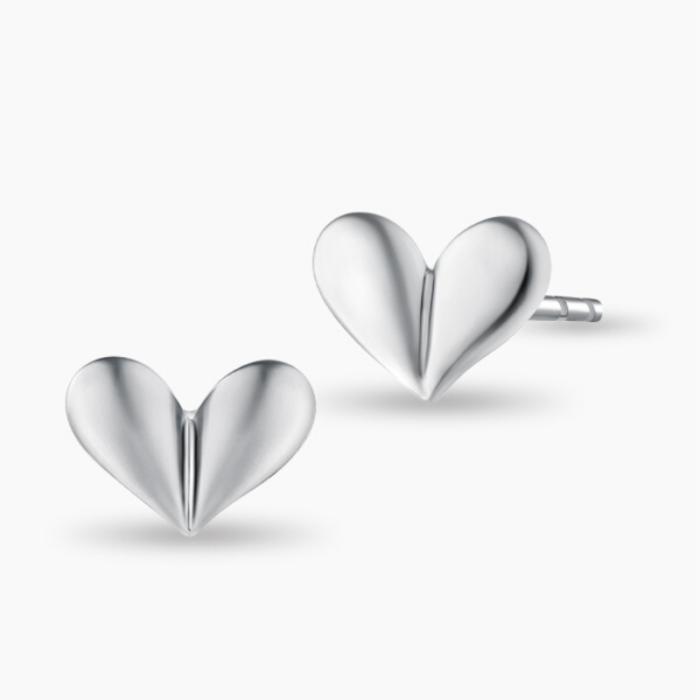 Sparkling Heart White Gold Earrings