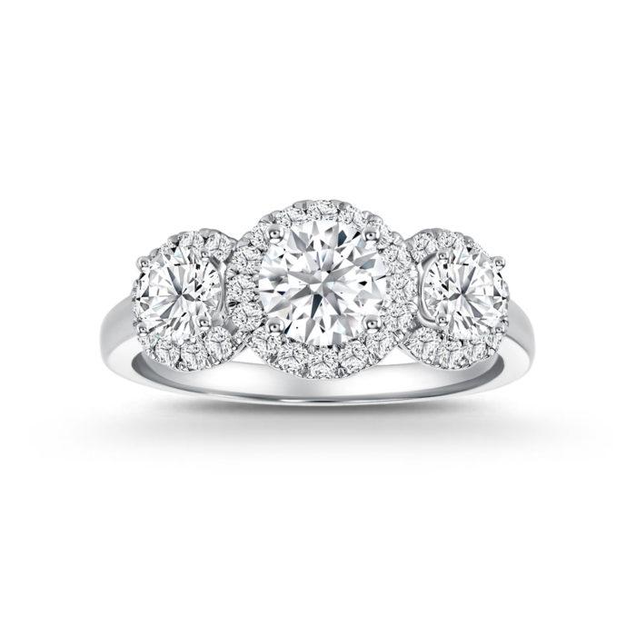 Trilogy Halo Diamond Ring