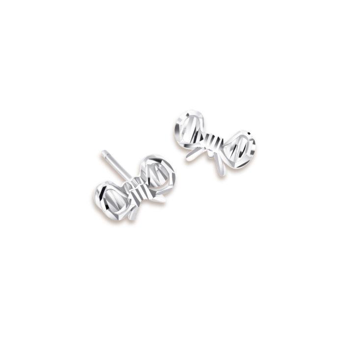Ribbon 14K White Gold Earrings