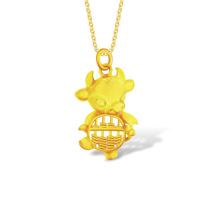 Pure Gold Ox Abacus Pendant